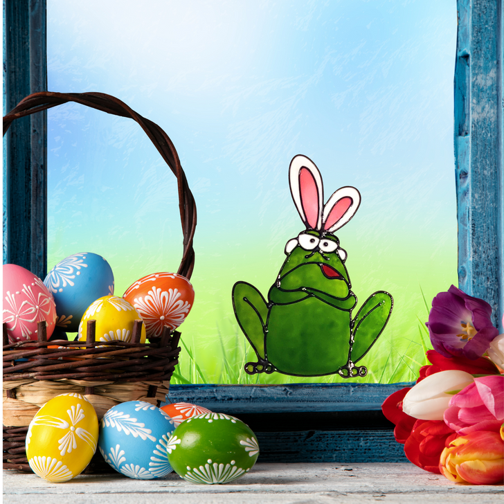 Bunny Ears Frog Window Cling - Faux Stained Glass