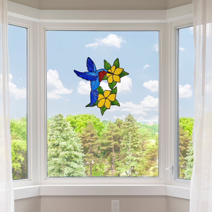 Blue Hummingbird Window Cling ~ Faux Stained Glass ~ Static Cling ~ Bird Anti Strike Window Decals