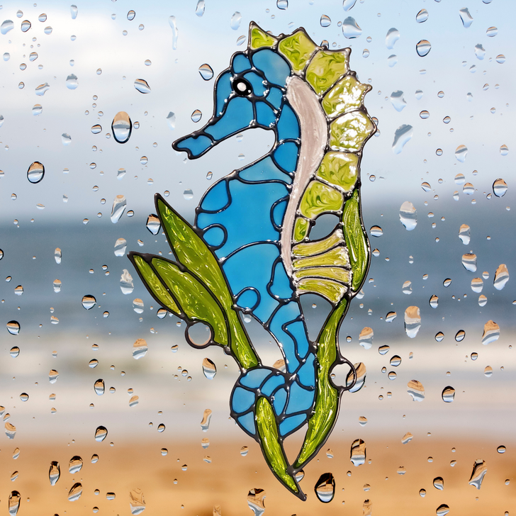 Seahorse Window Cling ~ Faux Stained Glass ~ Static Cling ~ Bird Anti Strike Window Decals