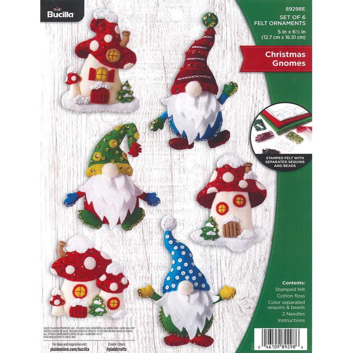 Bucilla Christmas Gnomes Felt Applique Ornaments Kit