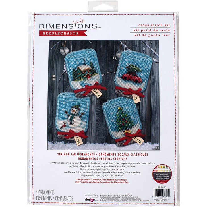 Dimensions Christmas Jars Counted Cross Stitch Ornament Kit