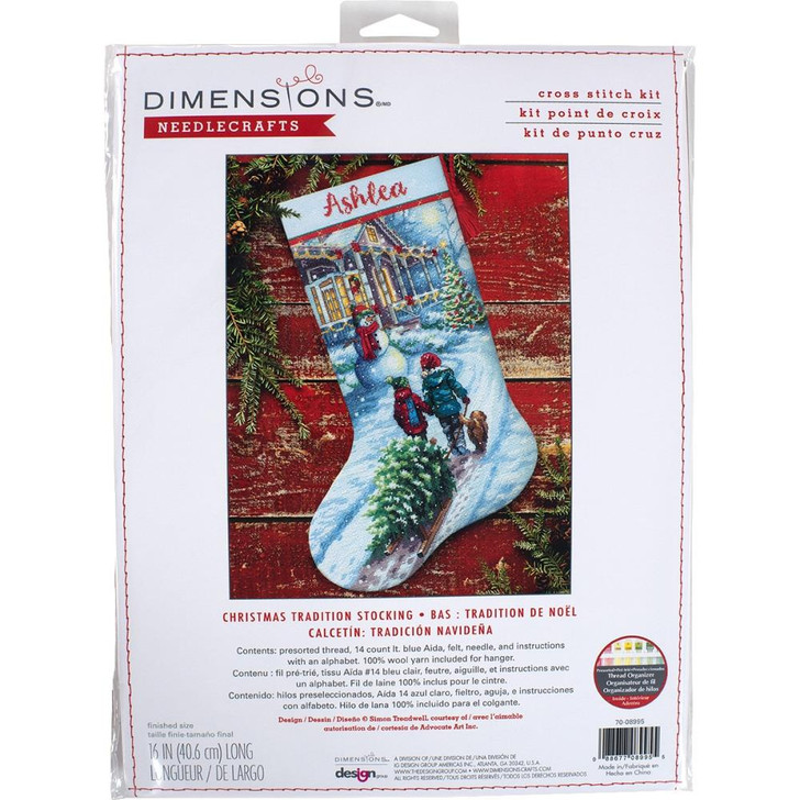 Dimensions Christmas Tradition Counted Cross Stitch Stocking Kit