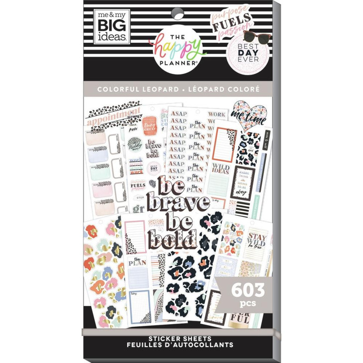 Happy Planner Colorful Leopard Sticker Pad ~ 603/Pkg