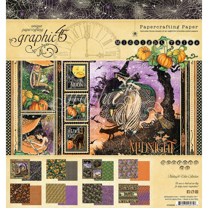 """Graphic 45 Midnight Tales Double-Sided Paper Pad 8""""X8"""" 24/Pkg"""
