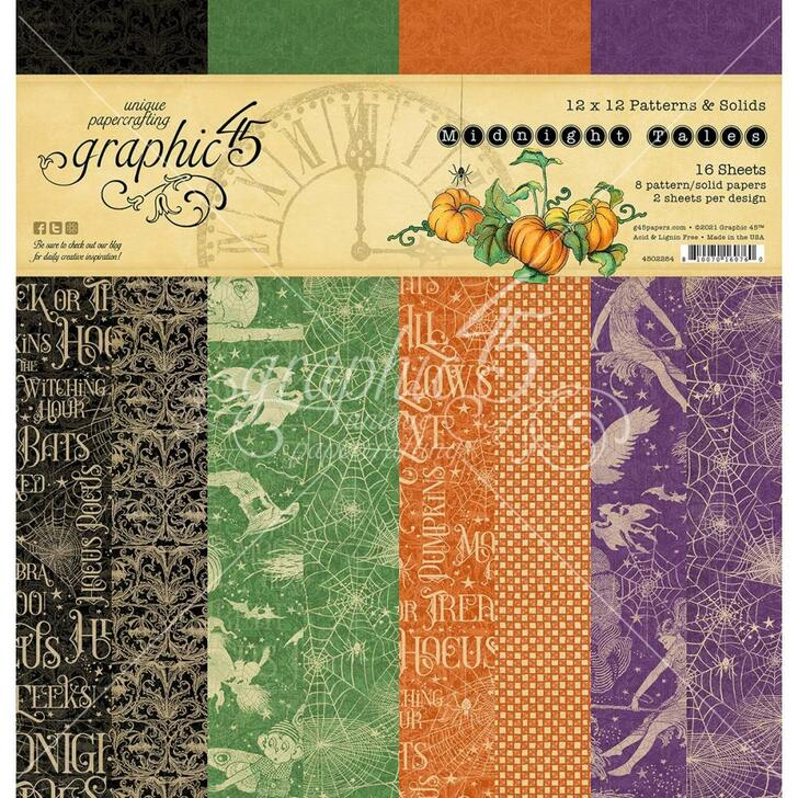 """Graphic 45 Midnight Tales Double-Sided Paper Pad 12""""X12"""" 16/Pkg"""