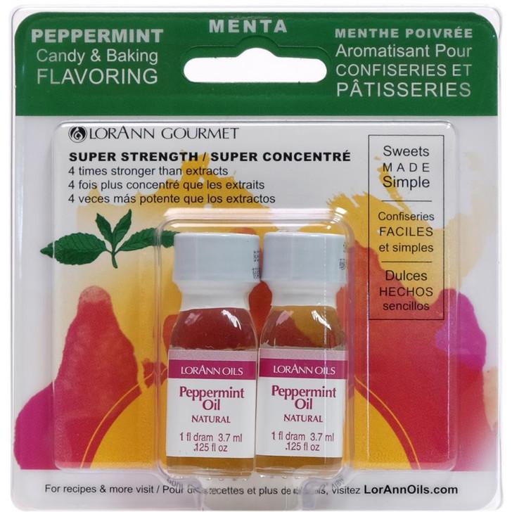 Lorann Oils Peppermint Candy & Baking Flavoring .125oz 2/Pkg