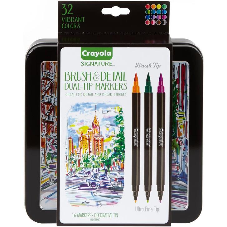 Crayola Signature Brush & Detail Dual-Tip Markers W/Tin 16/Pkg