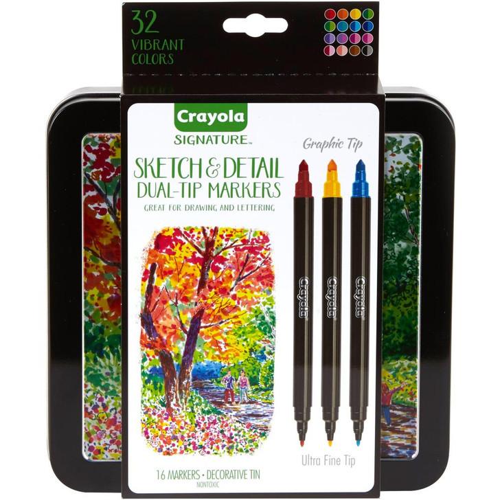 Crayola Signature Sketch & Detail Dual-Tip Markers W/Tin 16/Pkg