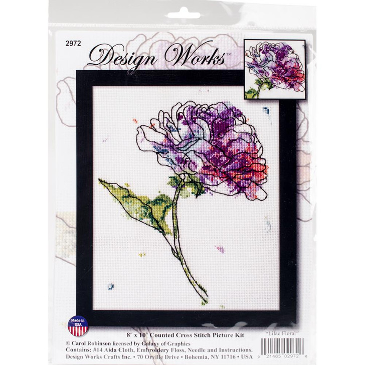 Design Works Lilac Floral Counted Cross Stitch Kit