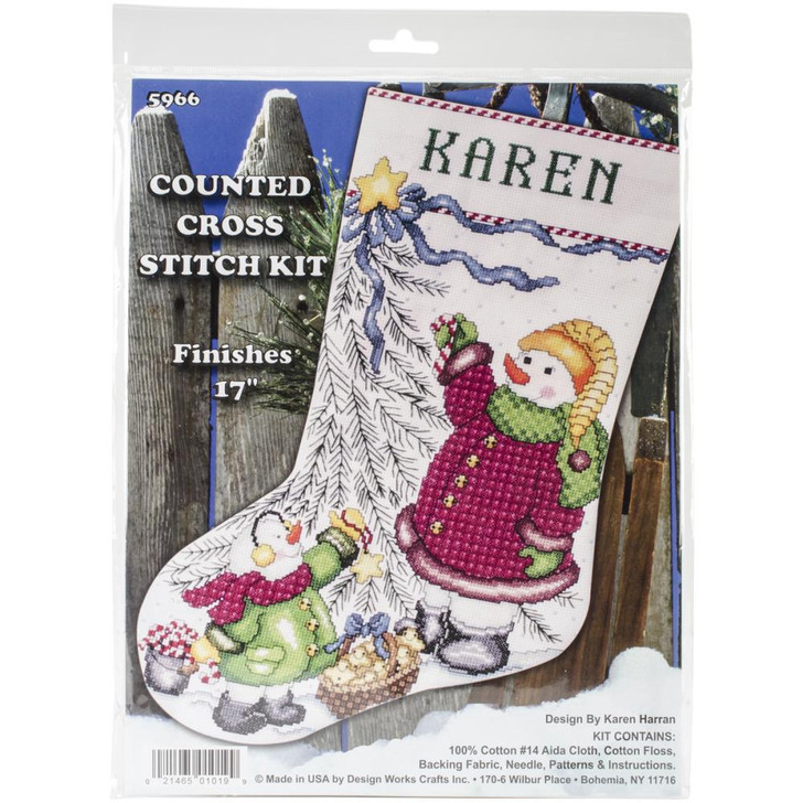 Design Works Christmas Tree Snowman Counted Cross Stitch Stocking Kit