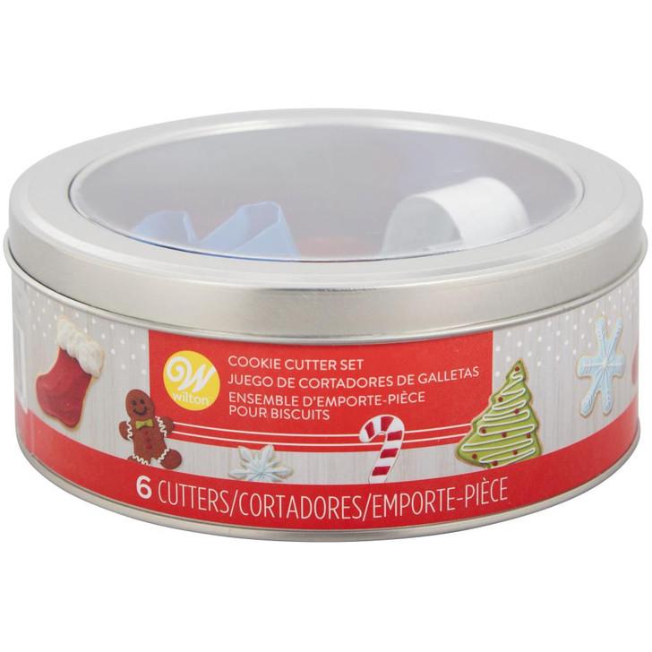 Wilton Christmas Cookie Cutter Tin Set 6/Pkg