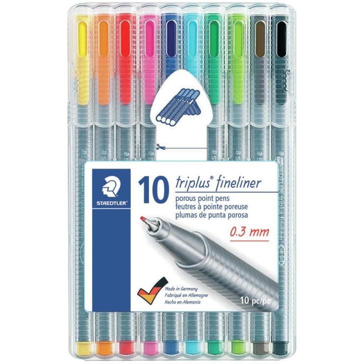 Staedtler Multi-Color Triplus Fineliner Pens 10/Pkg