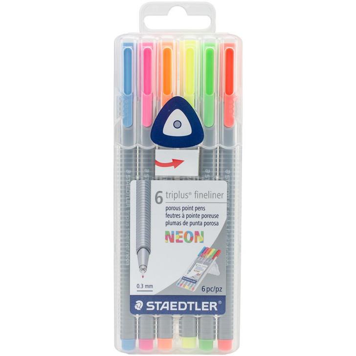 Staedtler Neon Triplus Fineliner Pens 6/Pkg