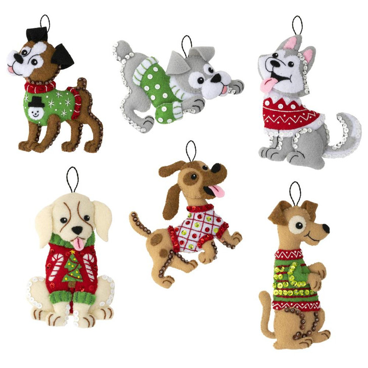Bucilla Dogs In Ugly Sweaters Felt Ornaments Applique Kit Set