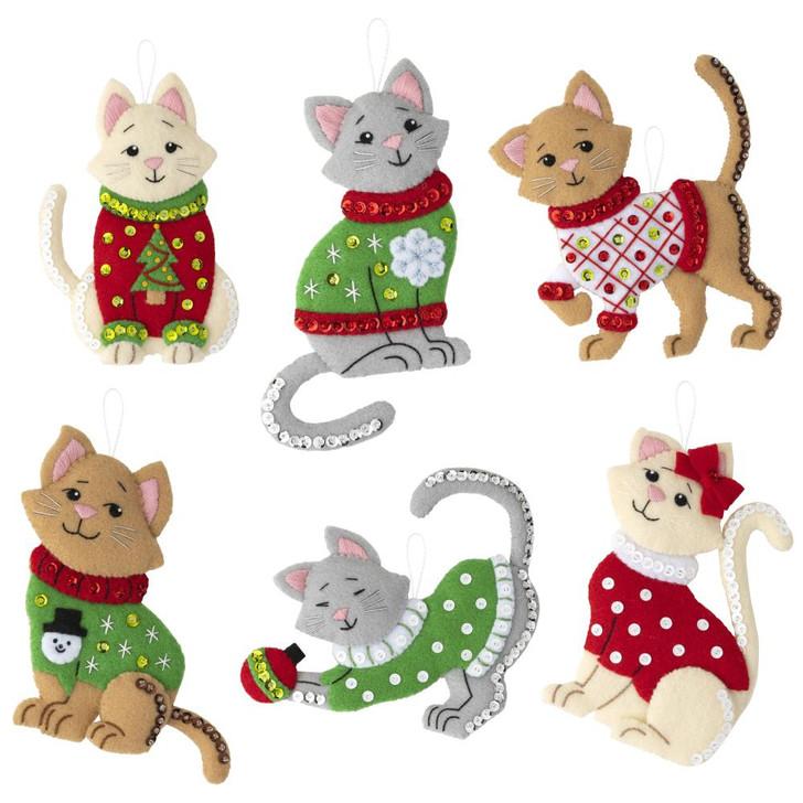 Bucilla Cats In Ugly Sweaters Felt Ornaments Applique Kit Set