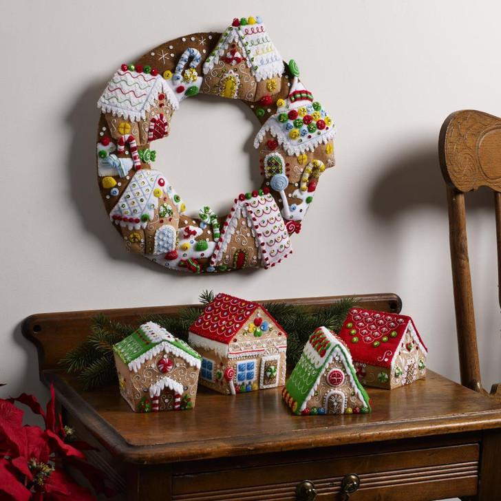 Bucilla Gingerbread Christmas Felt Ornaments Applique Kit Set