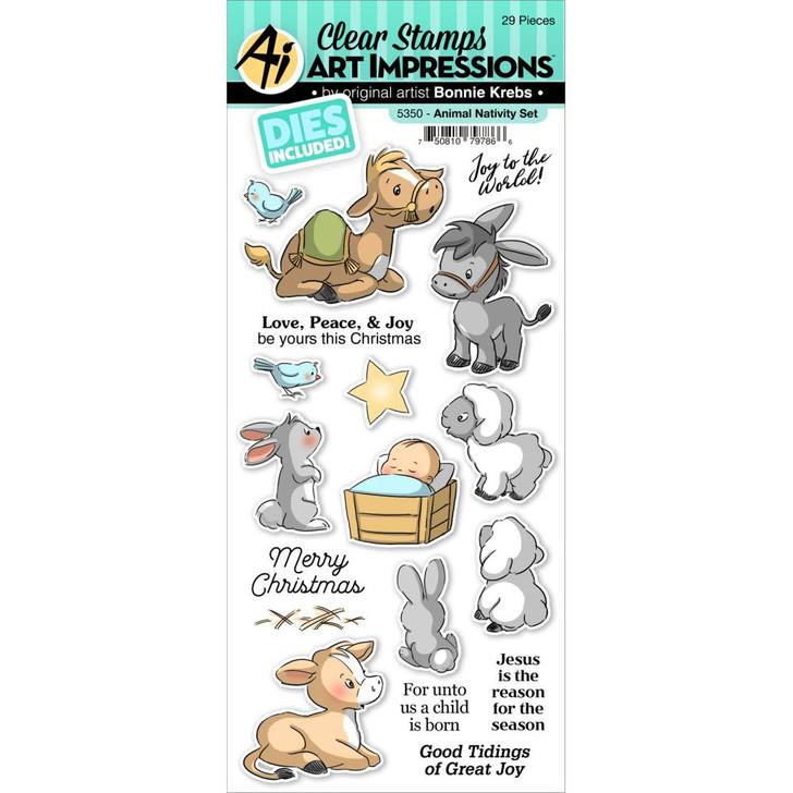Art Impressions Animal Nativity Clear Stamp & Die Set