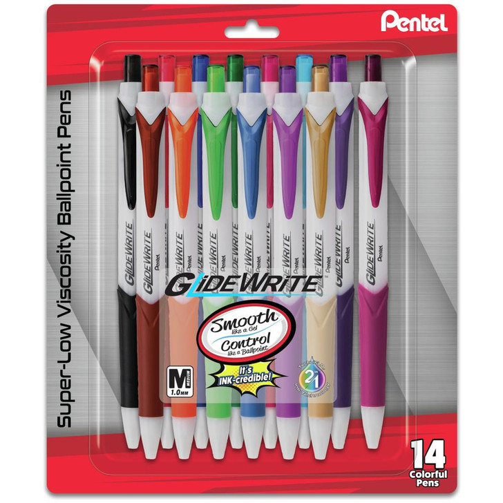 Pentel GlideWrite Ballpoint Pen 1.0mm 14/Pkg