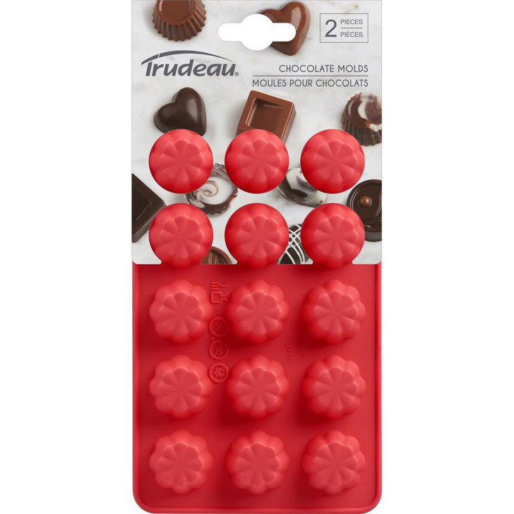 Trudeau Flower Silicone Chocolate Candy Molds 2/Pkg