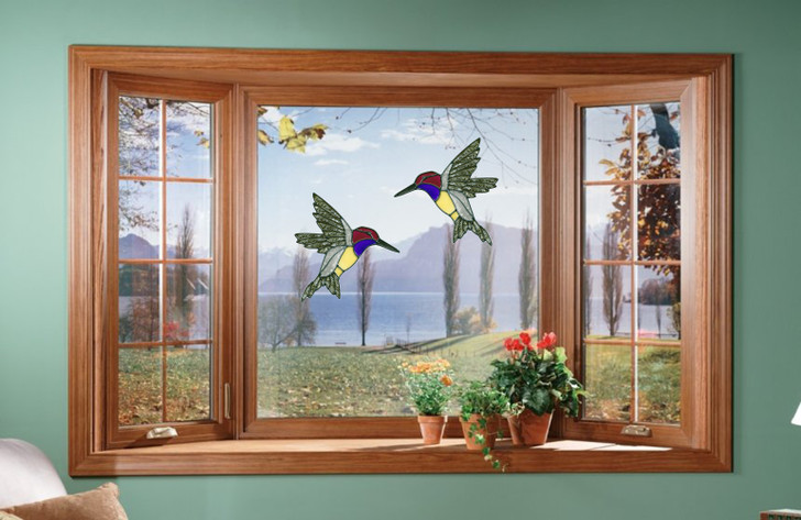 Faux Stained Glass Hummingbird Window Cling Set
