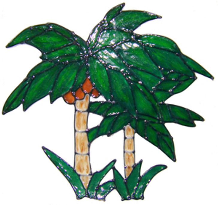 Palm Trees Faux Stained Glass Window Cling