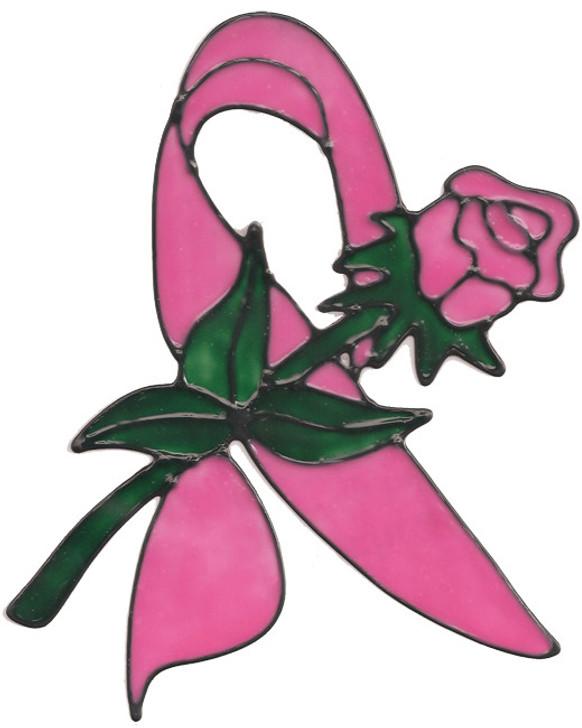 Ribbon Rose Window Cling - Pink
