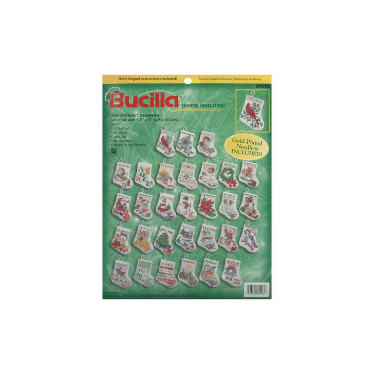 "Bucilla Counted Cross Stitch Kit 3.5"" 30/Pkg - Tiny Stocking Ornaments"
