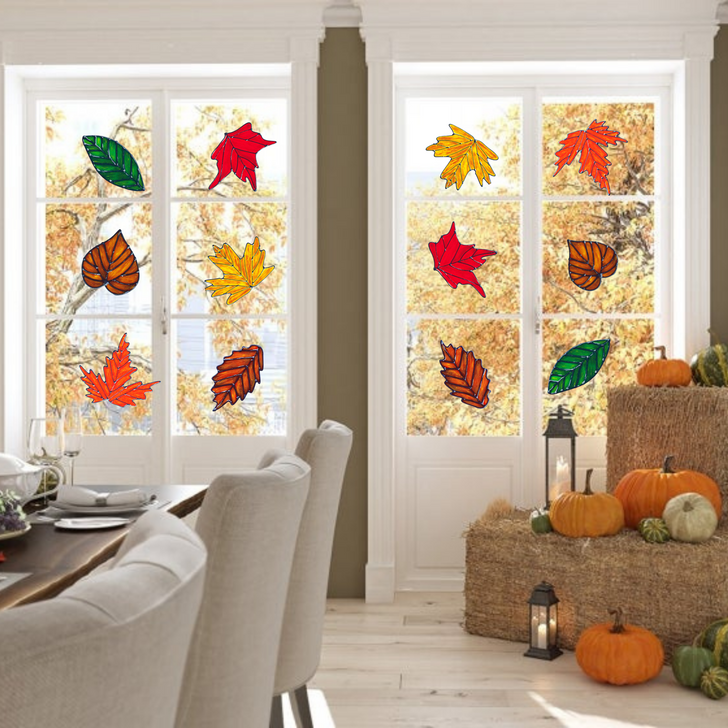 Faux Stained Glass Window Clings Set - Fall Leaves