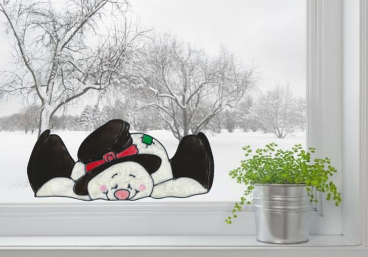 Snowman Window Sitter Window Cling