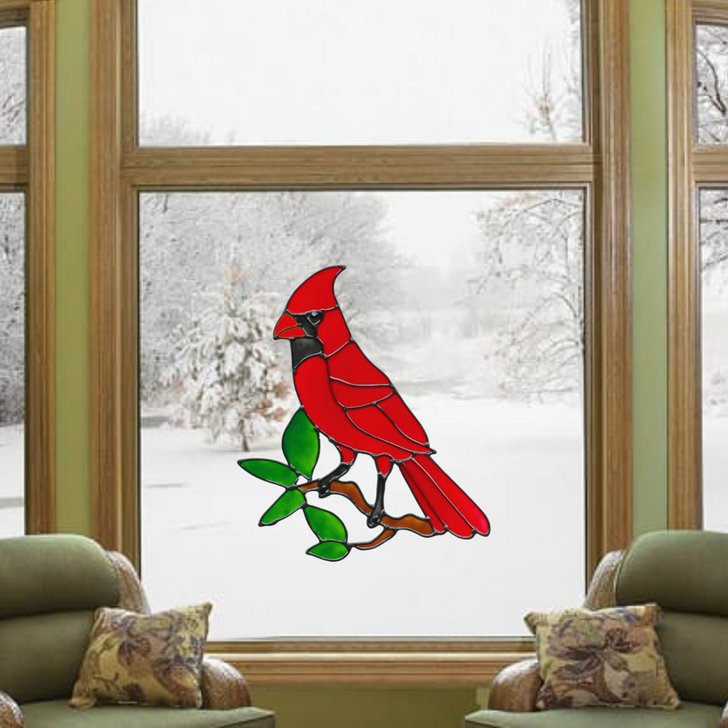 Cardinal Faux Stained Glass Window Cling Set