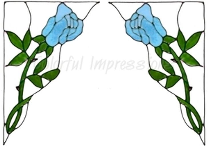 Rose Corner Window Cling Set - Aqua