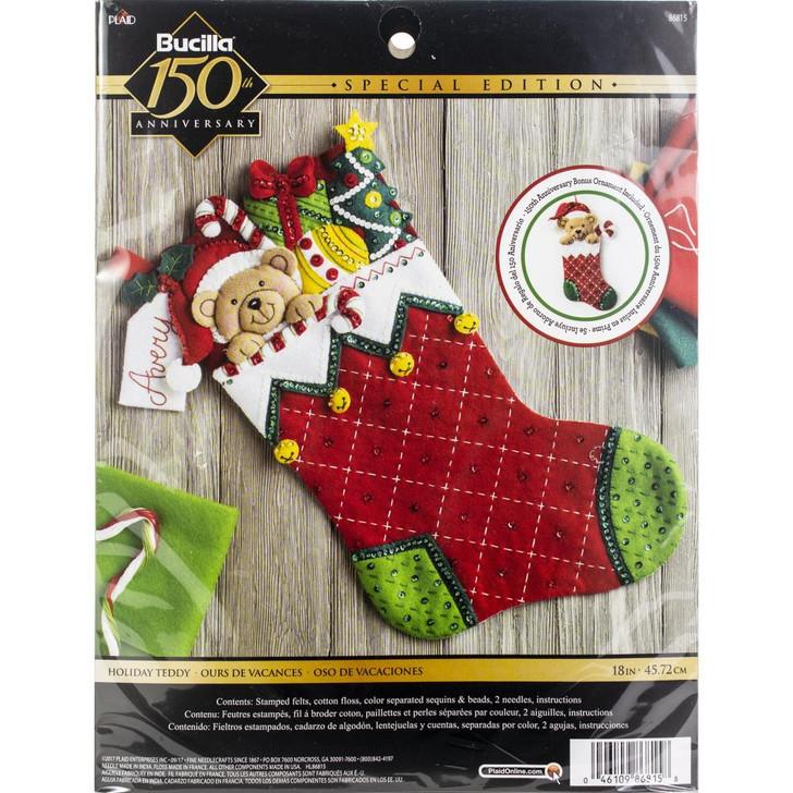 Bucilla Holiday Teddy Felt Applique Stocking Kit