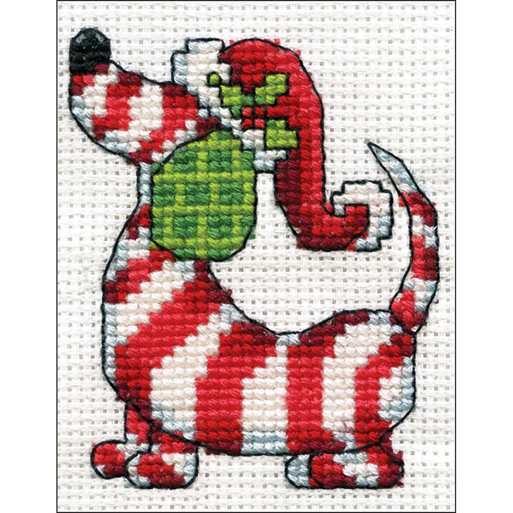 Design Works Counted Cross Stitch Kit - Candy Cane Dog