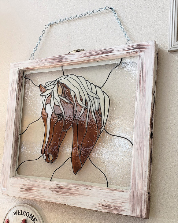 Faux Stained Glass Horse Vintage Window