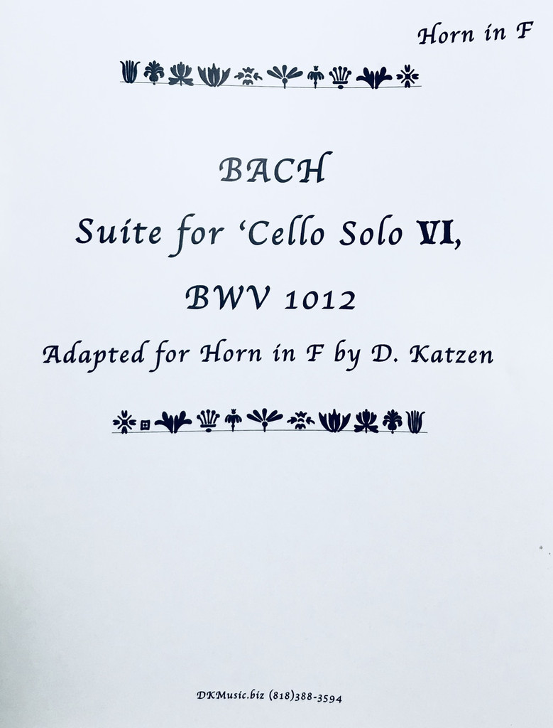 Bach, J.S. - Suite for Cello VI BWV 1012 (Adapted for Solo Unaccompanied Katzen (image 1)