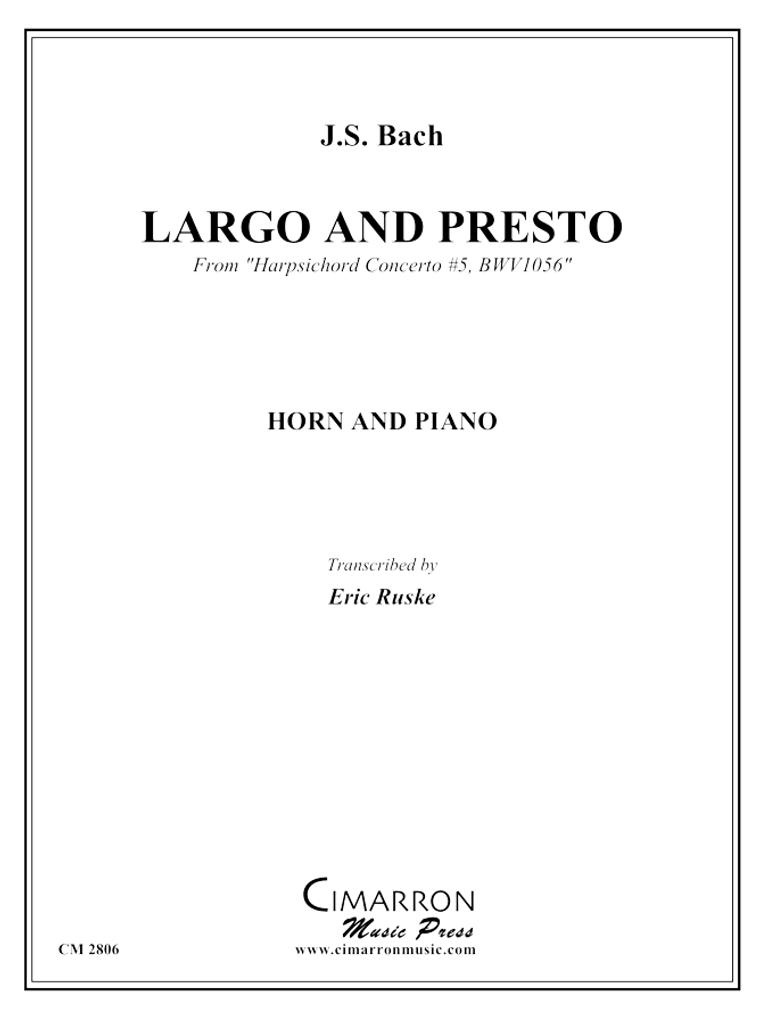 "Bach, J. S. - Largo and Presto from ""Harpsichord Concerto #5, BWV1056"" (image 1)"