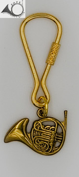 Antique Brass French Horn Key Chain