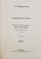 Telemann Concerto for 2 Horns in F, Oboe and Recorder, Bassoon, 2 Violins, 2 Cellos and Strings