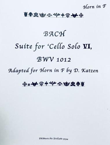 Bach, J.S. - Suite for Cello VI BWV 1012 (Adapted for Solo Unaccompanied Katzen (image 1)