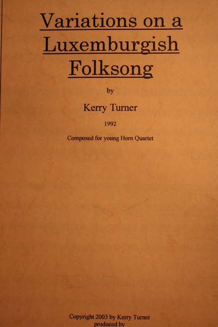 Turner, Kerry - Variations On A Luxembourg Folksong