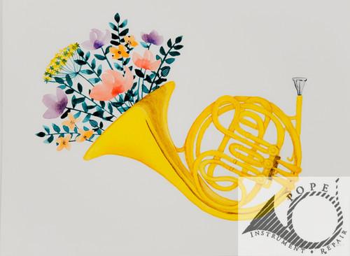French Horn Cornucopia Original Watercolor