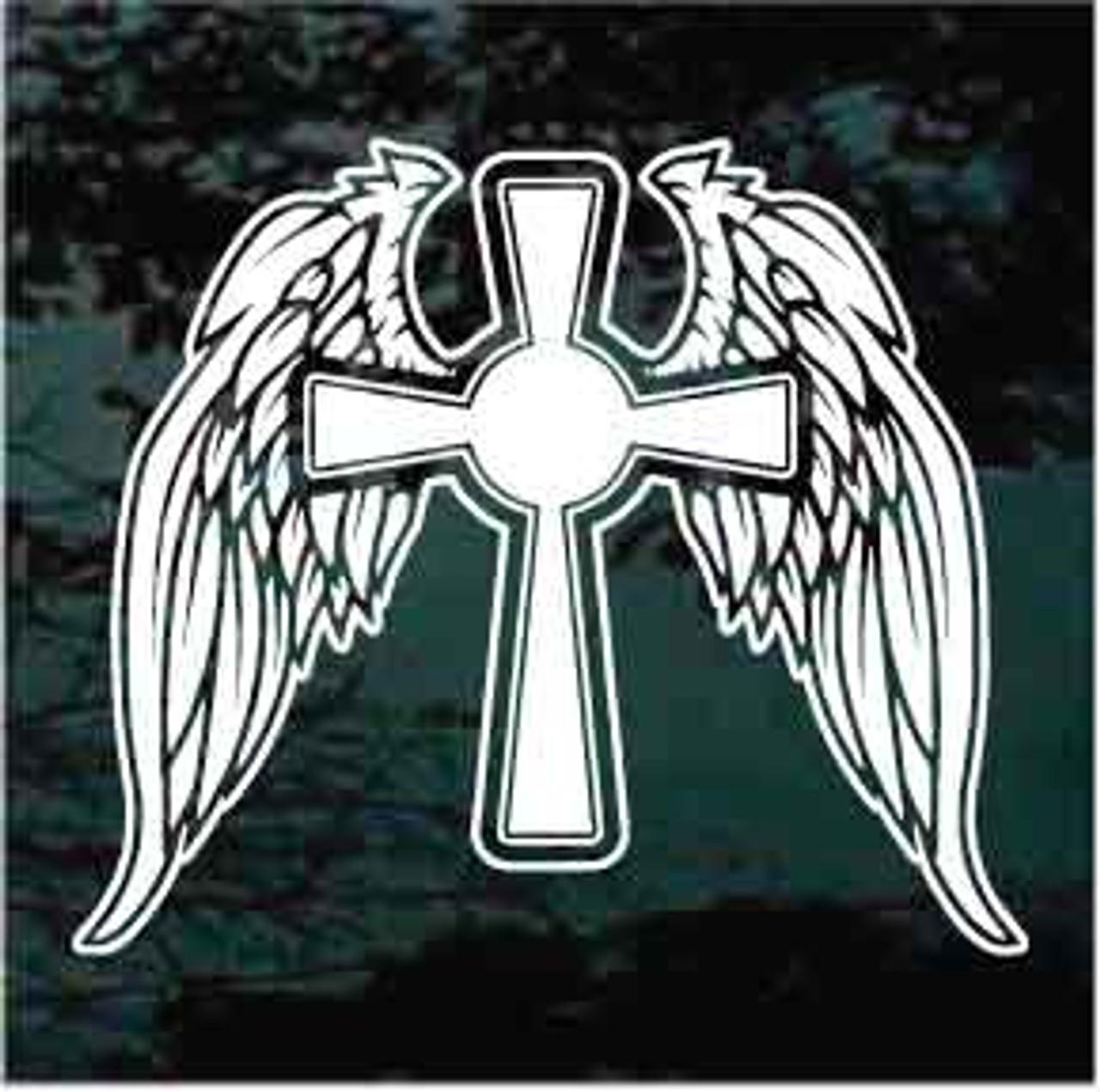 Cross with Angel Wings Window Decal