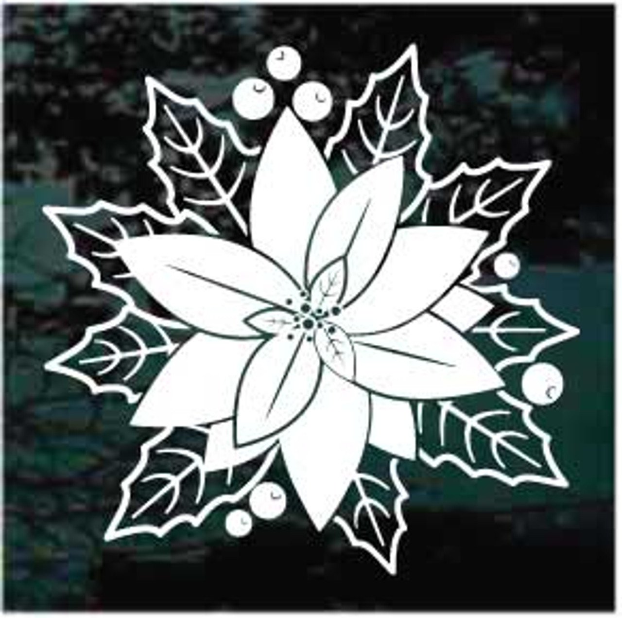 Poinsettia Flower Window Decal