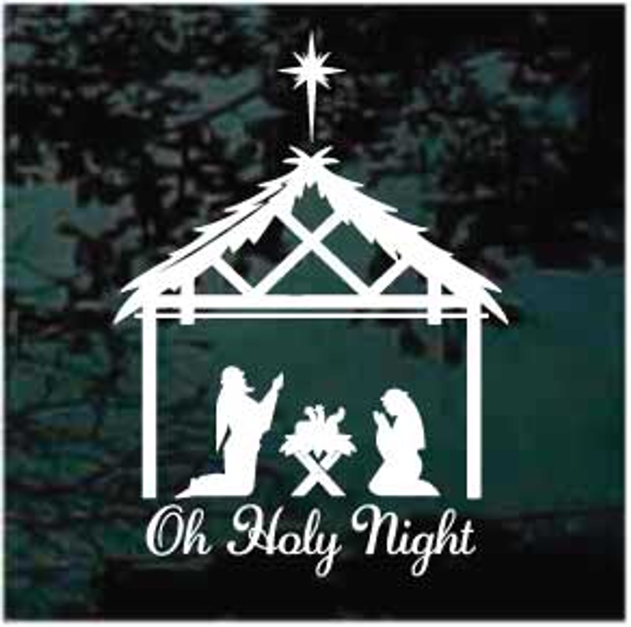 Oh Holy Night Nativity Window Decal