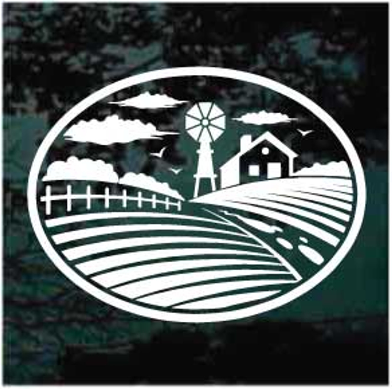 Farm Scene Oval Window Decal