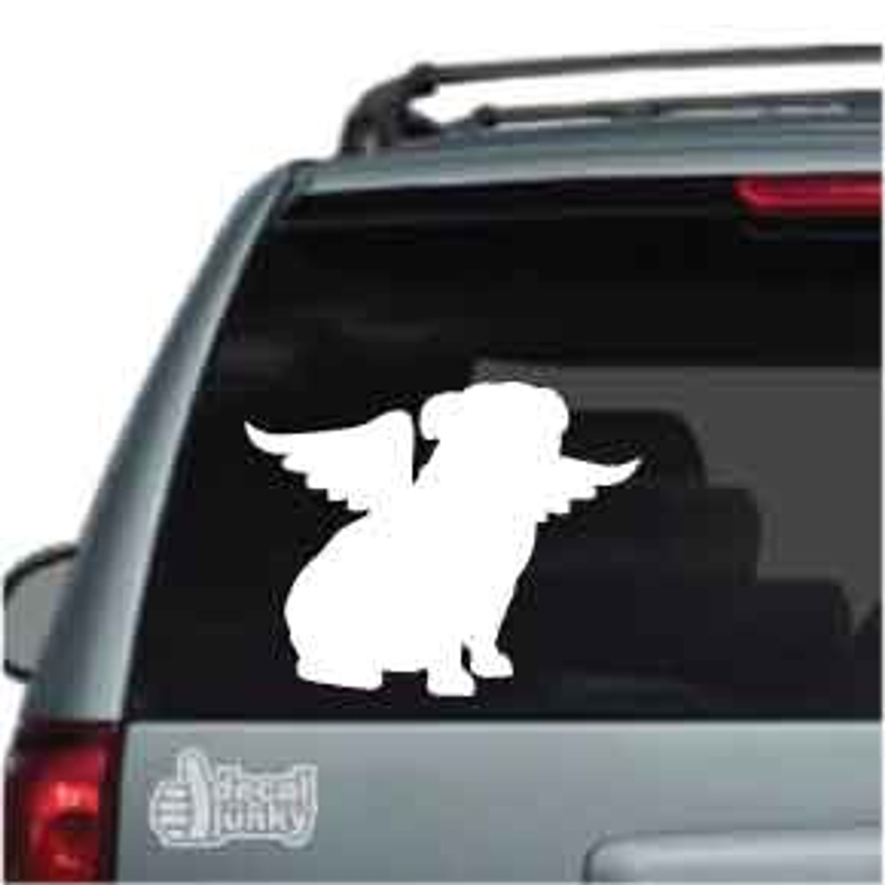 Bulldog Silhouette Sitting Angel Car Decal