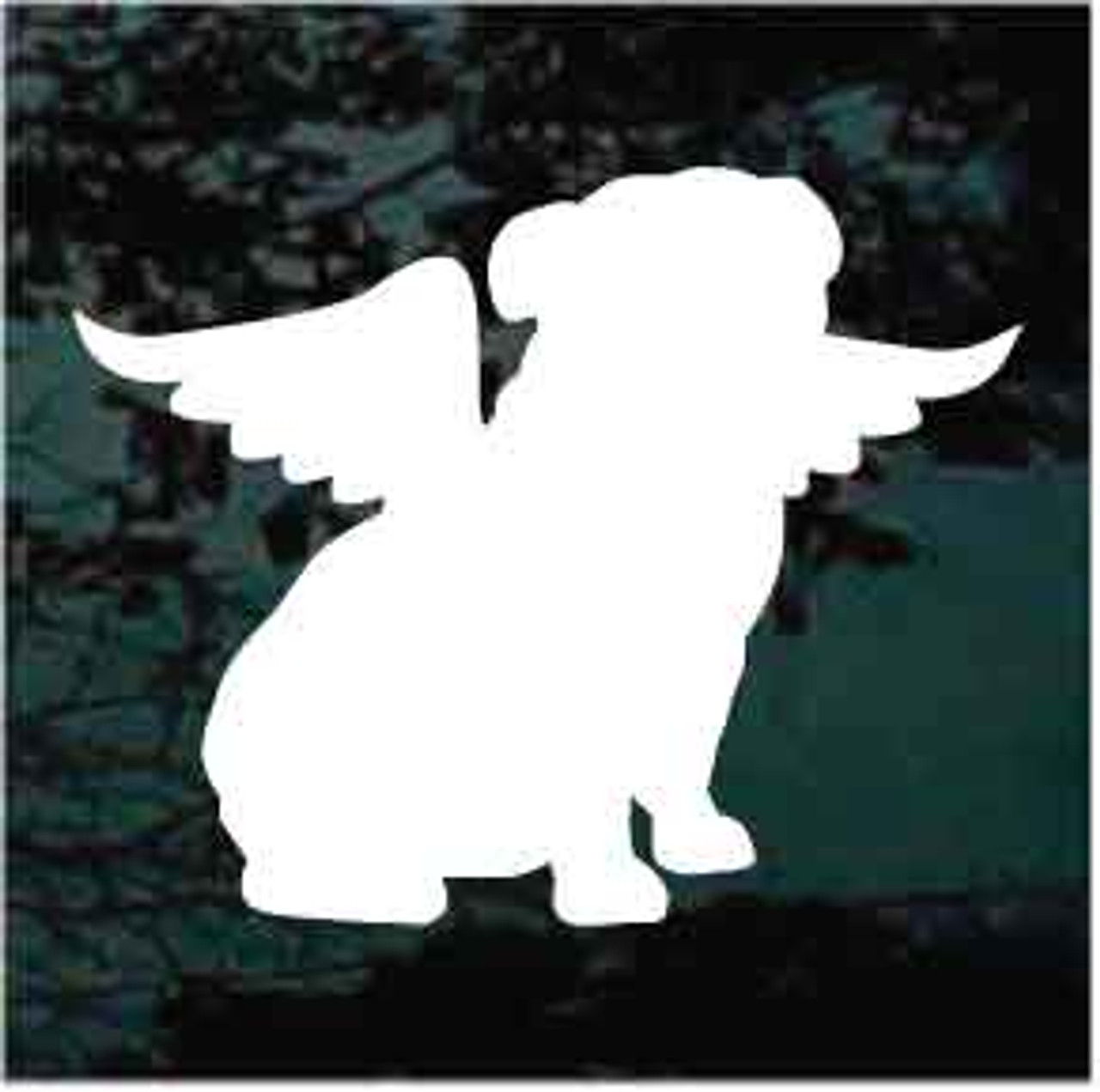 Bulldog Silhouette Sitting Angel Window Decal