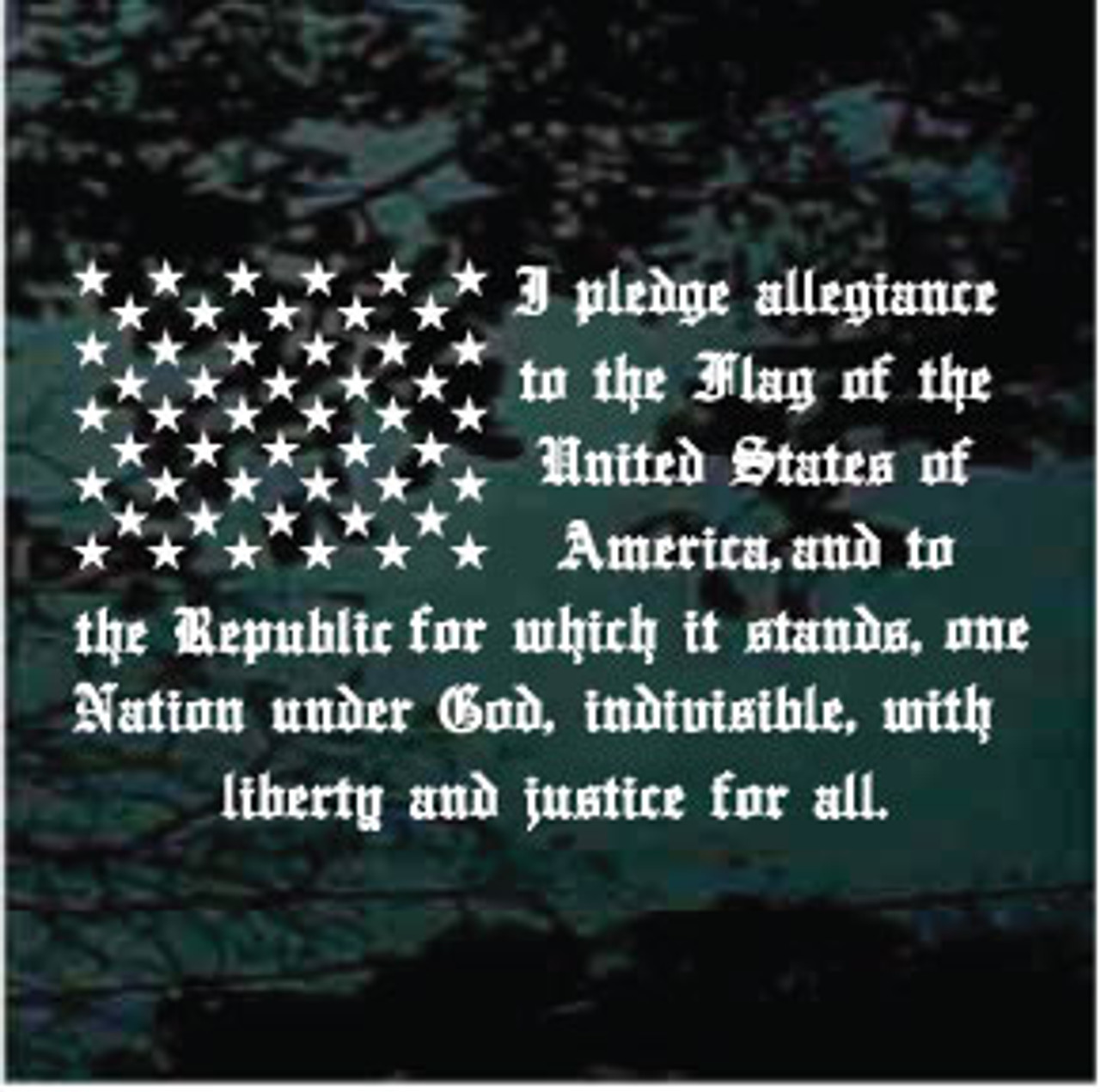 a9bf9dfd00 Pledge Of Allegiance Flag Car Window Decals   Stickers