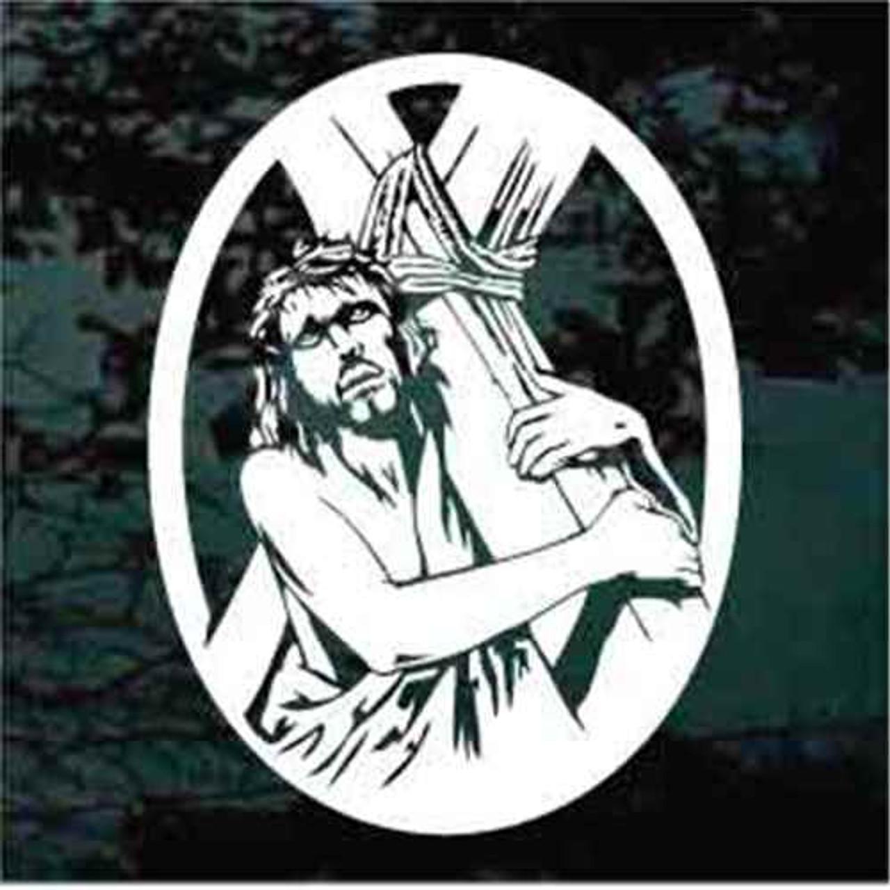 Jesus Carrying The Cross Car Window Decals