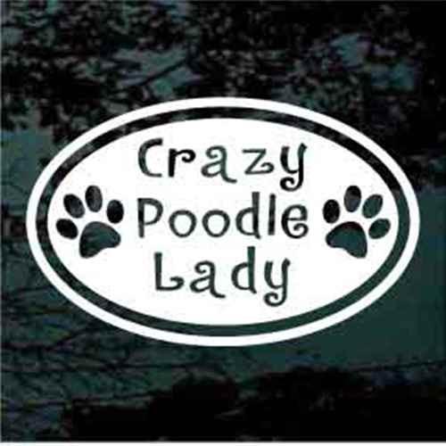 Crazy Poodle Lady Decals